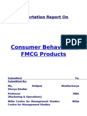 Consumer behavior in FMCG products | Nestlé | Heinz
