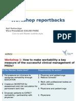 Morning session - reportback from delegate workshops