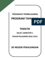 Program Tahunan ( Prota ) Tematik Kelas 1 Semester 1