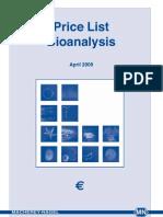 General Euro Bio Analysis PriceList 2009 En