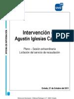 Intervención de Agustín Iglesias Caunedo en la sesión plenaria extraordinaria
