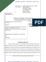 Tilikum, et al., v. SeaWorld Parks & Entertainment, Inc. Complaint