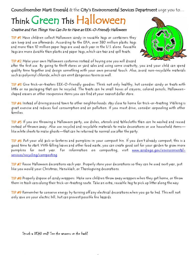 think green this halloween and a spook-tacular quiz! | halloween