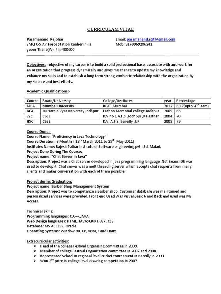 Curriculam Vitae Rpise | Microsoft Access | Java