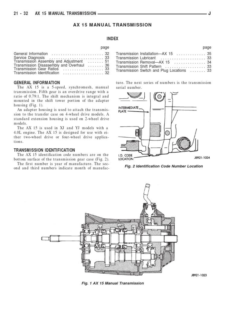 jeep ax15 service manual transmission manual transmission rh scribd com