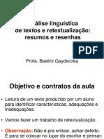 Análise linguística  - RESENHA RESUMO