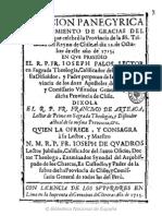 Oracion panegyrica en hazimiento de gracias del Capitulo, que celebró la Provincia de la SS. Trinidad del Reyno de C........... (1715)