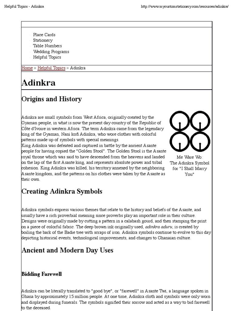 Adinkra Religion And Belief