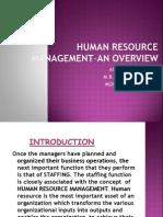 Human Resource Management-An Overview