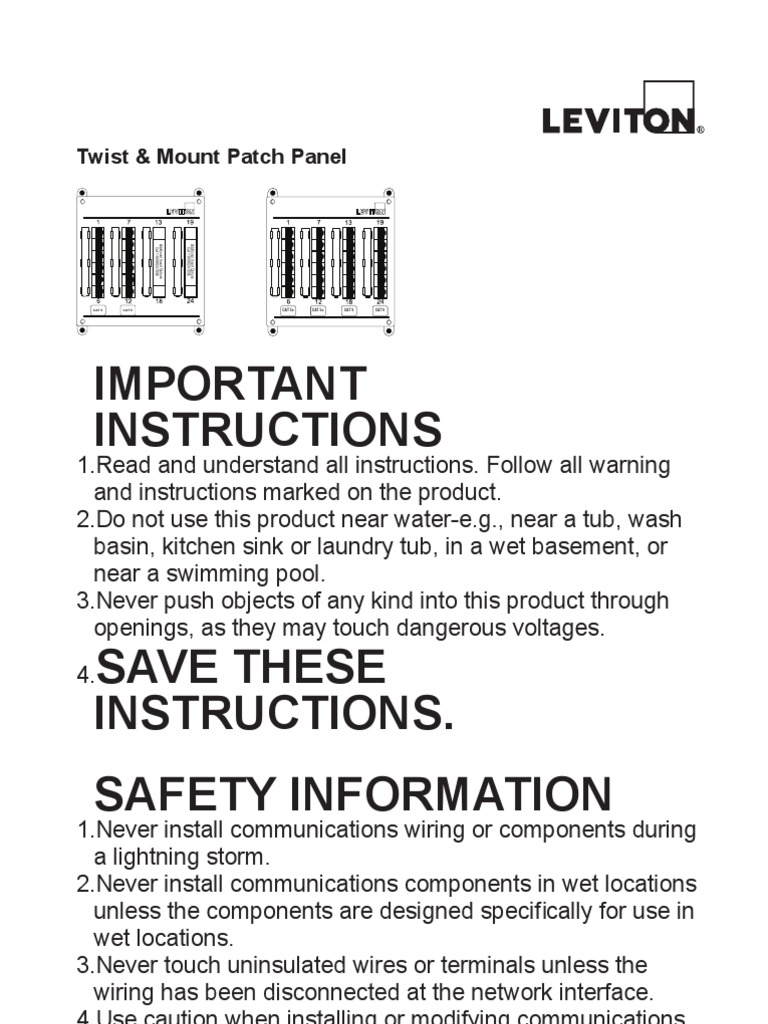 Leviton 476tm-624 Instruction Manual