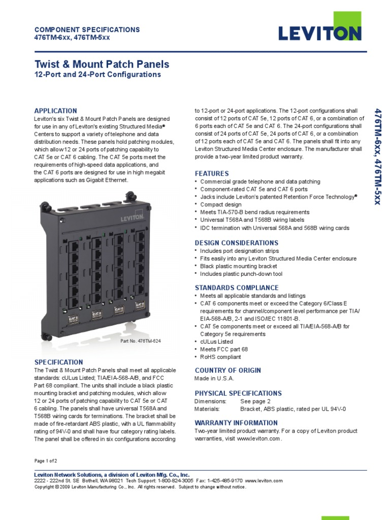 Leviton 476tm-624 Spec Sheet | Telecommunications | Electrical ...