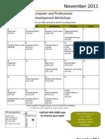 November 2011 Workshop Calendar