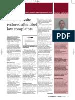 Carers website restored after libel law complaints