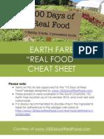 Earth Fare Real Food Cheat Sheet
