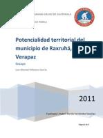 Potencialidad territorial del municipio de Raxruhá, Alta Verapaz