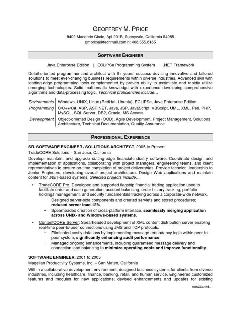 software engineer resume sample  web application  java