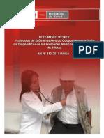 Protocolos de Exámenes Médico Ocupacionales Obligatorios por Tipo de Actividad – RM 312-2011/MINSA