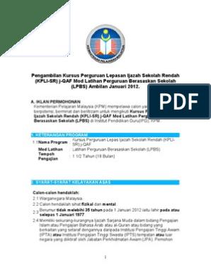 Pengambilan Kursus Perguruan Lepasan Ijazah Sekolah Rendah Kpli Sr J Qaf Ambilan Jan 2012