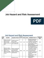 Job Hazard and Risk Assessment