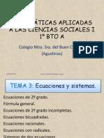 1º bachiller TEMA 4.- ECUACIONES Y SISTEMAS