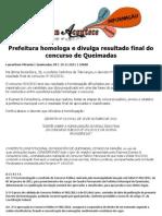 Prefeitura de Queimadas homologa concurso 001/2011