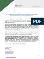 Gacetilla de Prensa Alianza Regional - IV INTERNATIONAL FORUM ON HUMAN RIGHTS AND INFORMATION AND COMMUNICATION TECHNOLOGY (México)