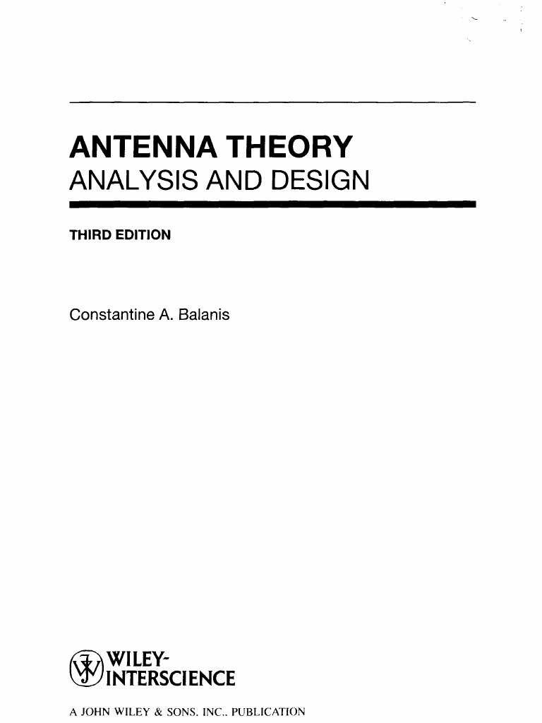Antenna Theory - CA Balanis   Antenna (Radio)   Electromagnetic Radiation