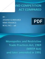 Mrtp and Competition Act Compared