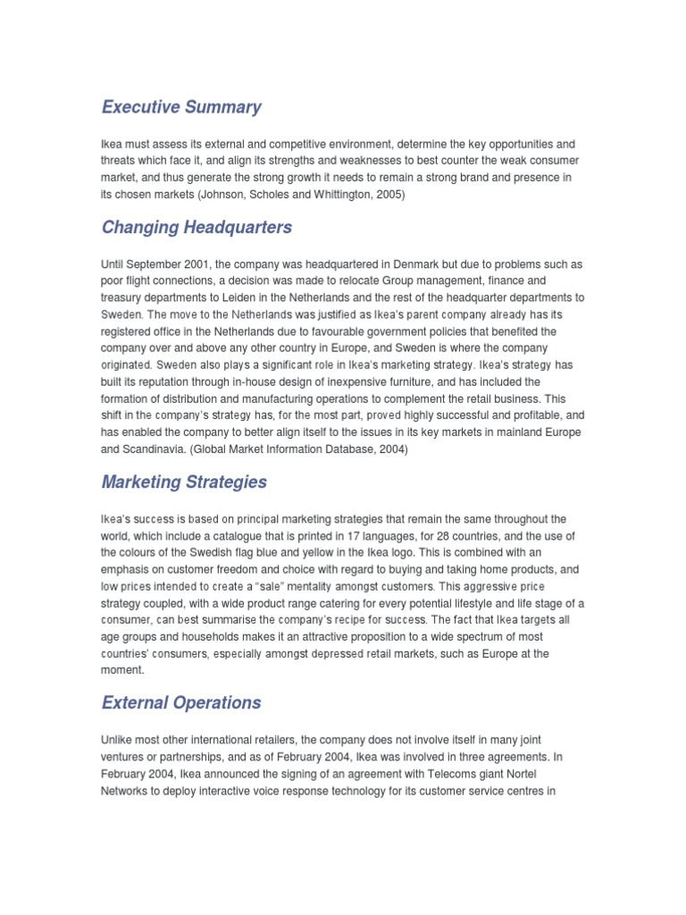 ikea executive summary Internationalization of ikea 1 executive summary in this essay, we will examine the internationalisation process of ikea, swedish company founded in 1943 and the world's lieder in supplying home furnishing at low price with imaginative styles and application facility in addition,.