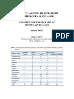 Lista Actualizada de Mamiferos Ecuador-2011-2