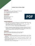 Curriculum Vitae for Alireza Tajfar1