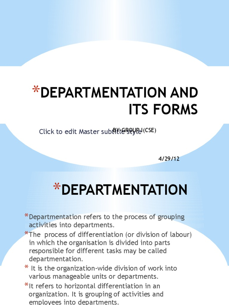 forms of departmentation