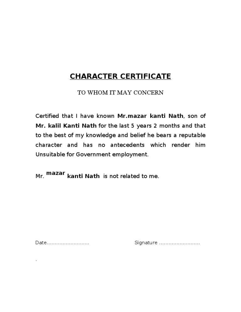 Character certificate format by gazetted officer in word best sle of character certificate format for bank gallery police character certificates for gazetted officers altavistaventures Gallery