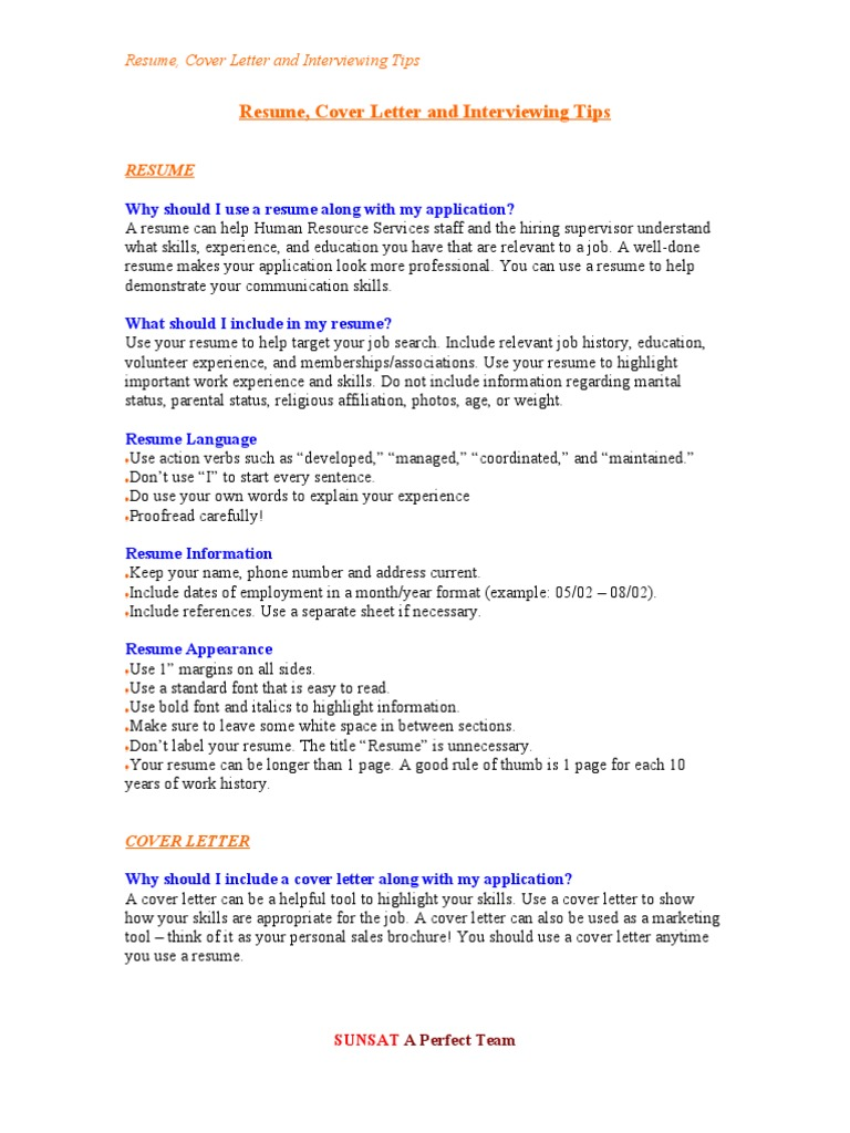 Resume Cover Letter and Interviewing Tips Rsum Interview