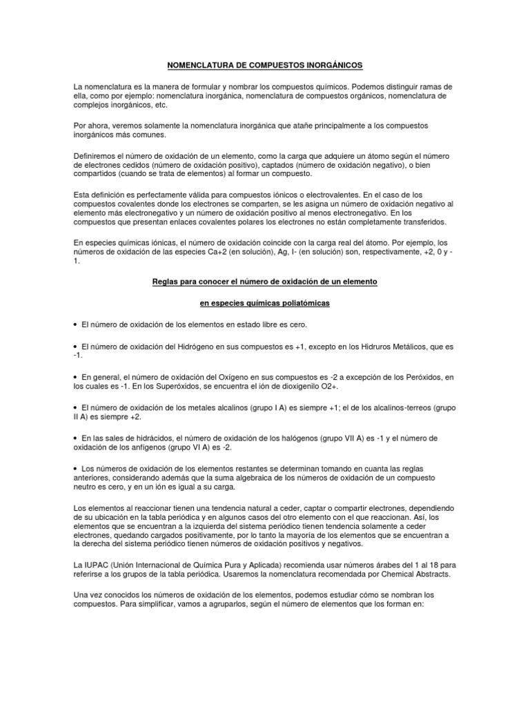 nomenclatura de compuestos inorgnicos - Metales Alcalinos Tabla Periodica Definicion