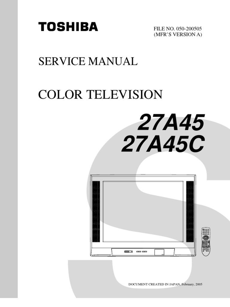 toshiba 27a45 27a45c color tv service manual download