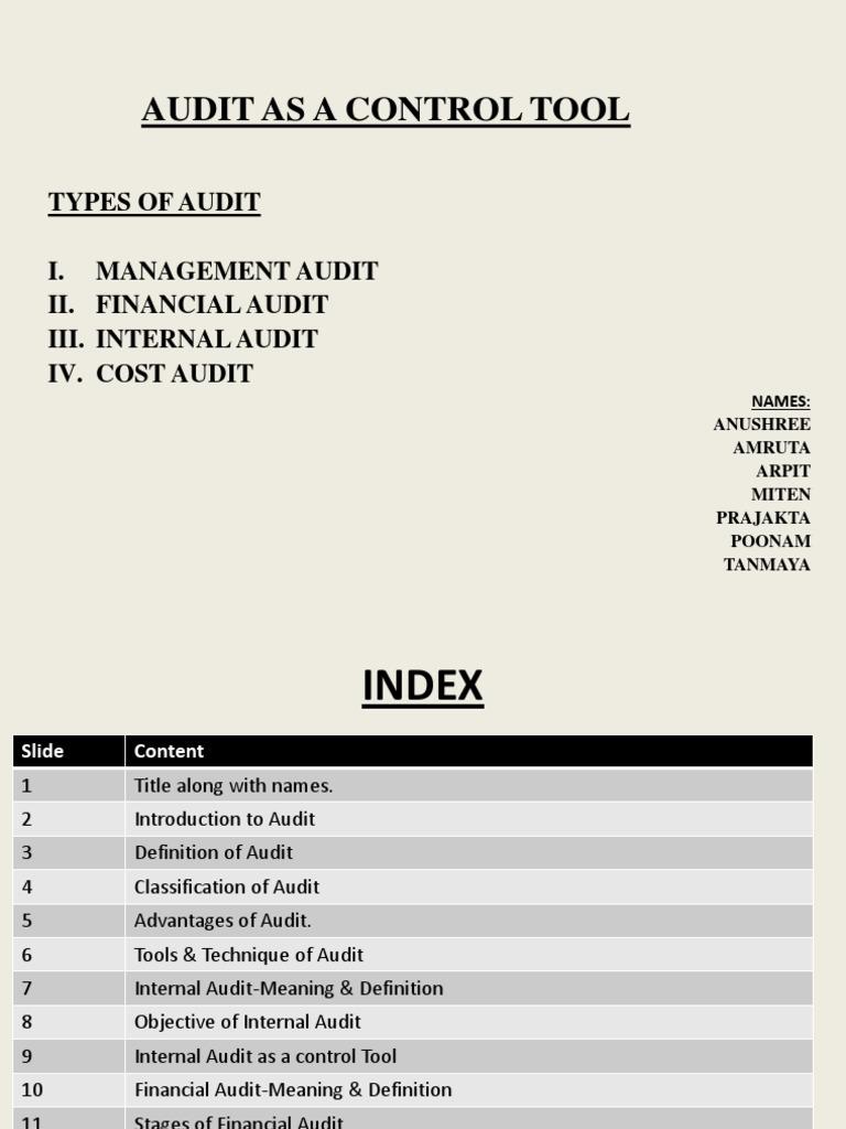 Audit As A Control Tool Internal Audit Audit
