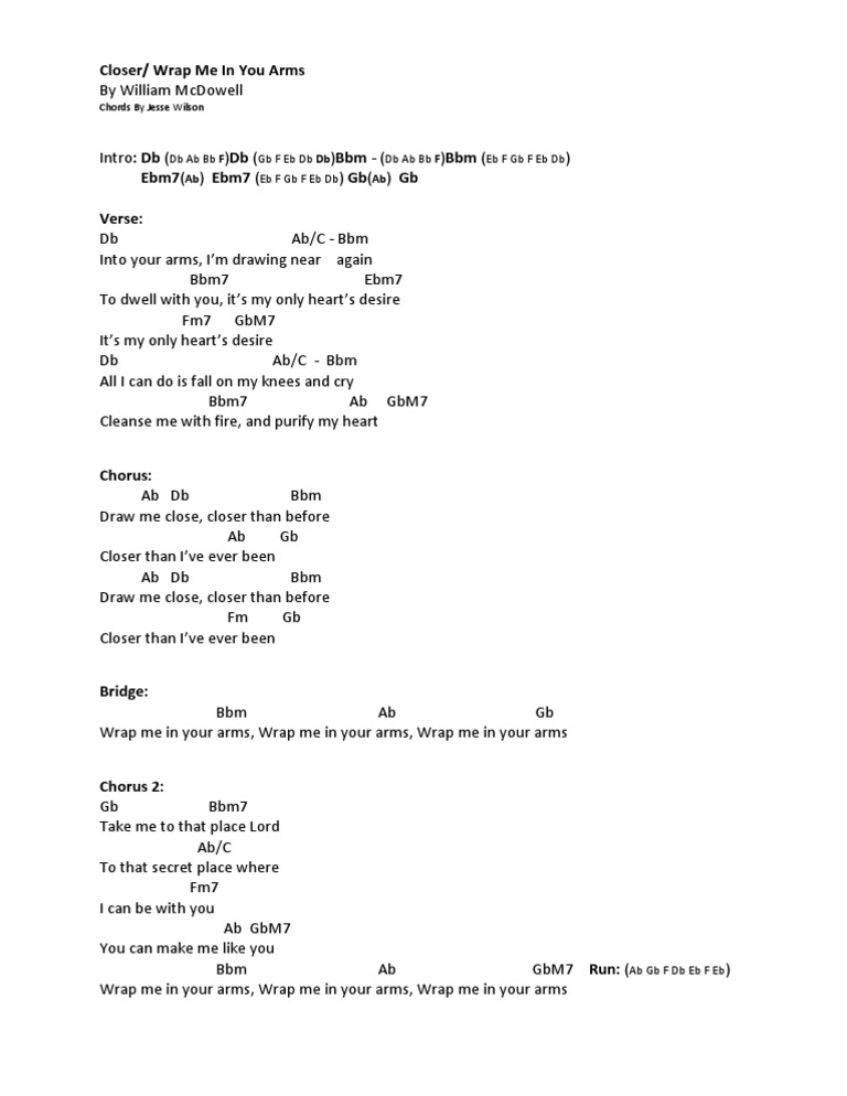 Closer By William Mcdowell Chords