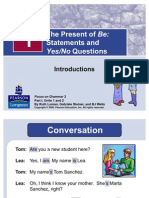 A1-1 the Present of Be; Statements and Yes & No Questions