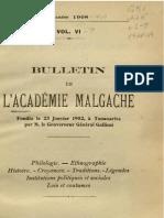 Bulletin de l'Académie Malgache VI - 1908