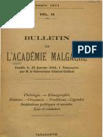 Bulletin de l'Académie Malgache IX - 1911