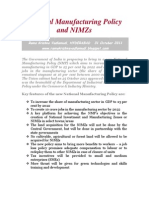 National Manufacturing Policy and NIMZs-VRK100-31Oct2011