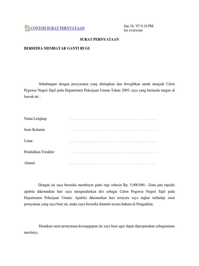 Contoh Surat Pernyataan Kesanggupan Membayar Hutang ...