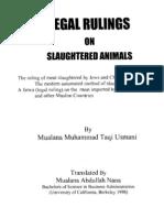 Mufti Taqi Uthmani Legal Rulings on Slaughtered Animals