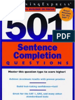 Learning Express 501 Sentence Completion Questions - 193p