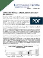 Le chômage en Europe à fin septembre 2011