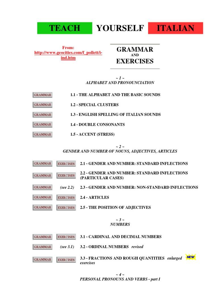 Italian Grammar Teach Yourself Grammatical Gender Verb Vivere Wall Clock Double Shaped Cream