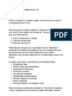 Capital Budget for Restaurant | Capital Budgeting | Budget