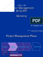 Project management Estimating