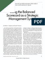 Using the Balanced Scorecard as a Strategic Management System by Kaplan Robert S Norton